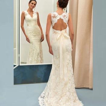 cut out v neckline knot front tee Modern Graceful Ivory Mermaid Lace Sleeveless Bridal Wedding Gowns V Neckline Wedding Dresses for Bride Cut Out Back Bow Sash