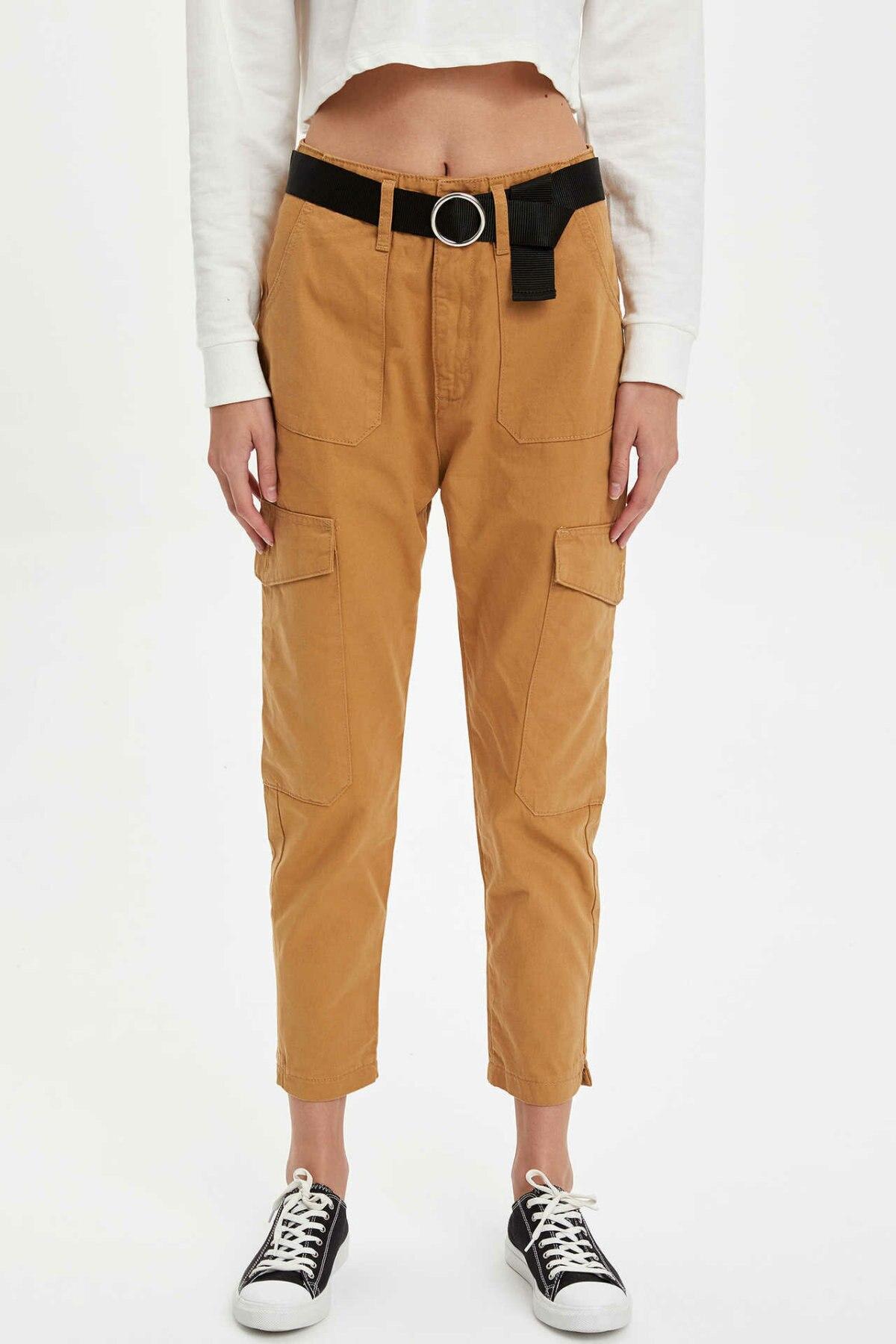 DeFacto Woman Fashion Yellow Trousers Slim Pencil Pants Big Pockets Decors Women Casual Streetwear Long Pants-L9928AZ19AU