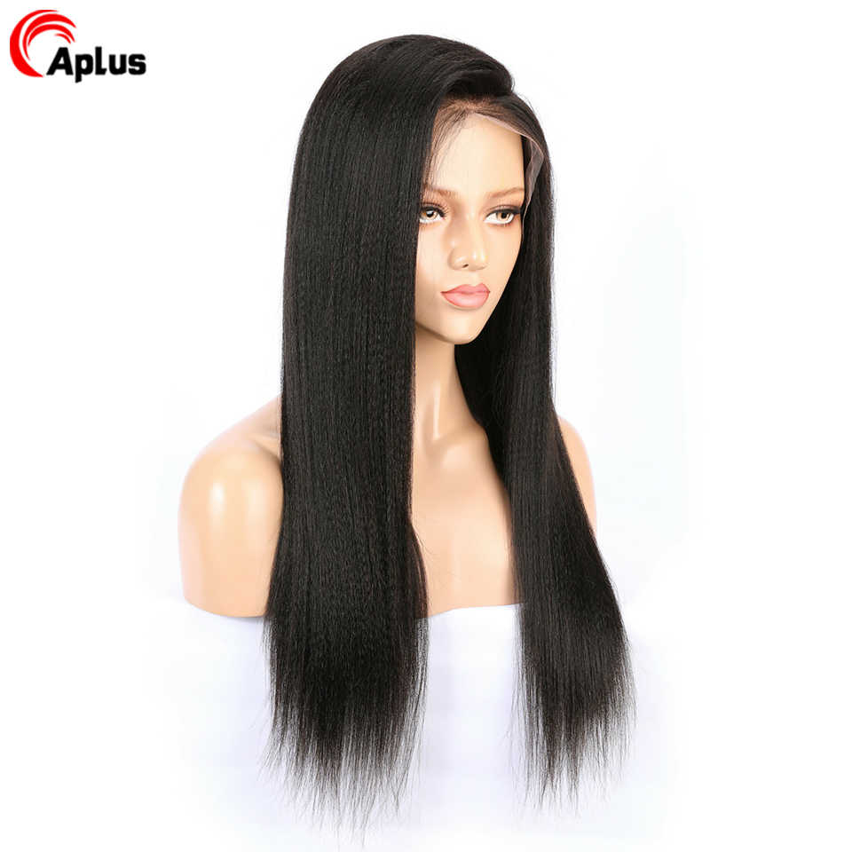 Kinky Straight Wig 13x4 Lace Front Human Hair Wigs For Women 150% Density Pre Plucked Peruvian Remy Hair Wig Bleached Knotes