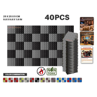 Arrowzoom 25 * 25 * 5 cm (9.8 * 9.8 * 1.9 in) Pyramid Studio Acoustic Foam Tile Panel 40 pcs Pack 11 Color Combinations KK1034