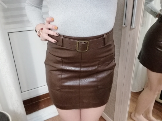 High Waist Vintage Pu Leather Mini Pencil Skirts With Belt Autumn Winter Streetwear Casual Retro A Line Skirt Female Saias photo review