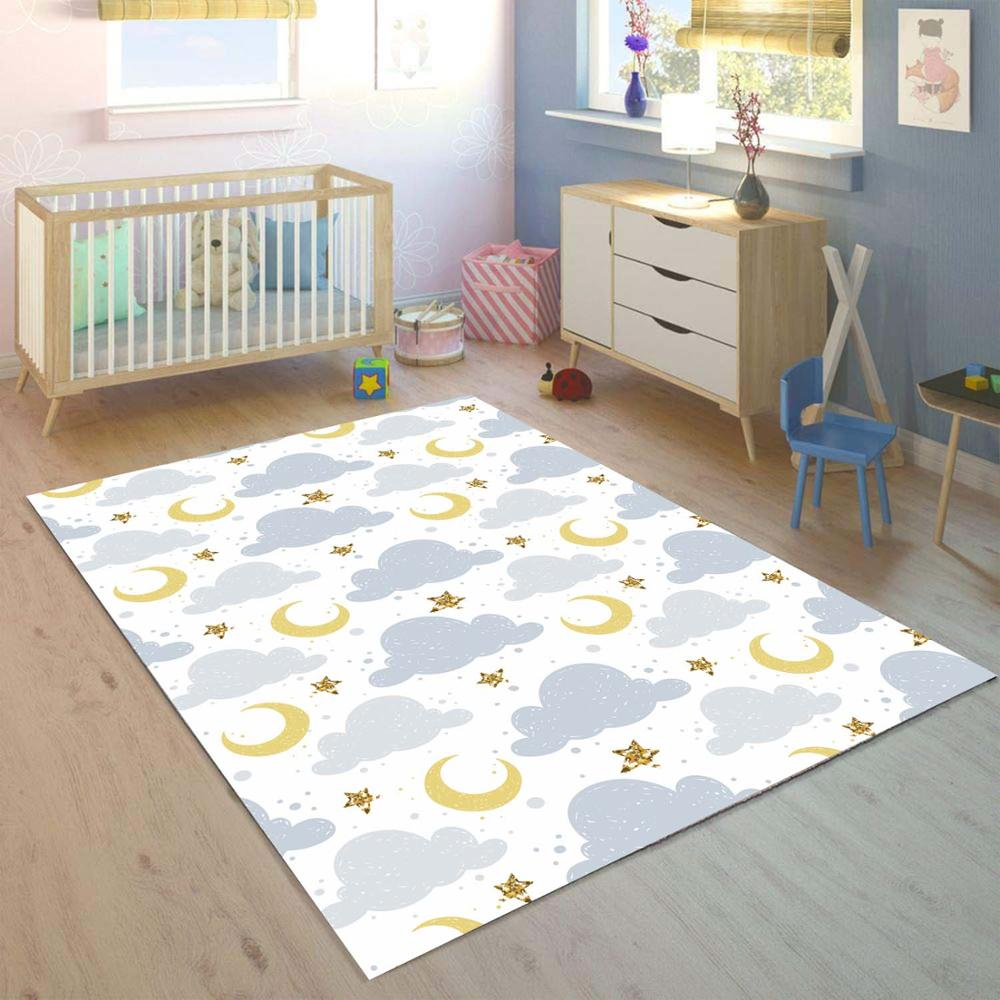 Else Gray Clouds Yellow Moon Stars 3d Print Non Slip Microfiber Children Kids Room Decorative Area Rug Mat