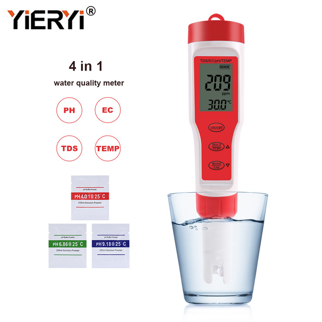 Yieryi new tds ph meter ph/tds/ec/temperature meter digital water quality monitor tester for pools, drinking water, aquariums
