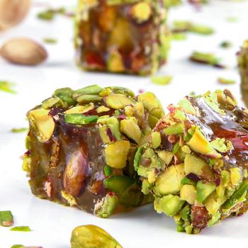Turecka rozkosz z miodem i pistacją pokryte pistacją netto 500 Gr tanie i dobre opinie Alondan TR (pochodzenie) Gotowanie pochodnie Narzędzia do deserów
