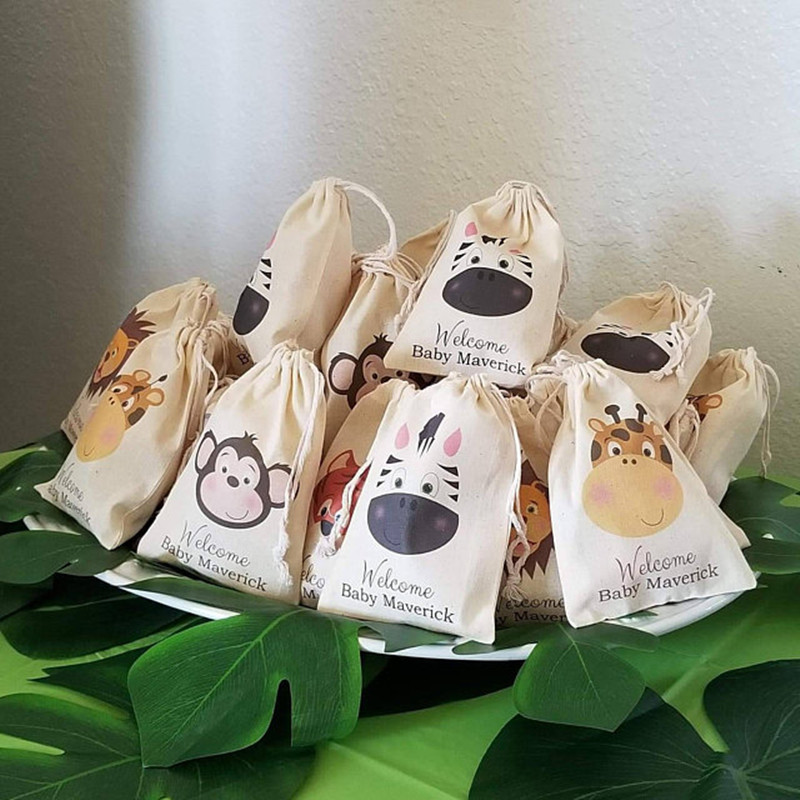 Jungle Safari Zoo Animal Party Bag Customize Baby Shower Bags Kid Birthday Party Treat Bags Bachelorette Welcome Muslin Gift Bag