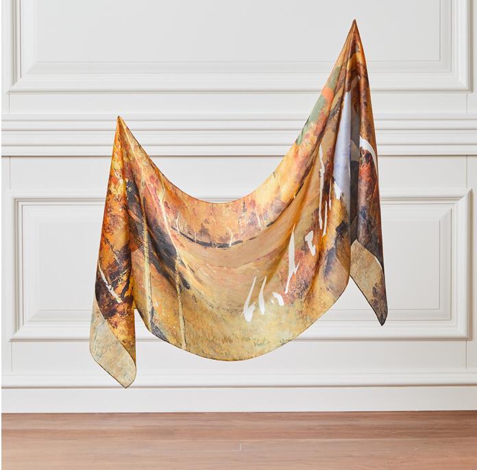 'Golden Autumn' Silk Neck Scarf - Made In Turkey - %100 Silk - Art Collection Special Design - Isaac Levitan