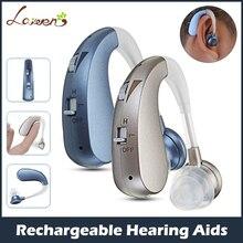 Mini apparecchi acustici digitali ricaricabili amplificatori audio apparecchi auricolari Wireless per anziani perdita da moderata a grave trasporto di goccia