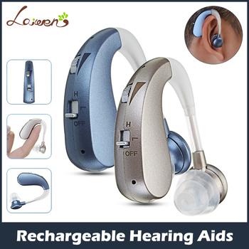 Miniaturowy bezprzewodowy cyfrowy aparat słuchowy na akumulator wspomaganie słyszenia wzmacniacz dźwięku dla starszych osób z umiarkowaną lub ciężką utratą słuchu dropshipping tanie i dobre opinie Laiwen Z Chin Kontynentalnych VHP202S rechargeable 450~3500Hz DC 1 5V blue silver hearing aid rechargeable hearing aid