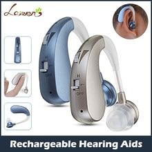 Mini recarregável digital aparelho auditivo amplificadores de som sem fio próteses auditivas para idosos moderado a grave perda transporte da gota