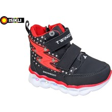 Captain Junior Male Baby Boots Black Red Pattern Orthopedic Soft Slip-Resistant Outsole Foot Suitable for Health Winter Seasons For