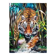 Tiger in Bamboo Grove-pintura de diamante redondo, mosaico bordado, punto de cruz 5D, patrón de animales
