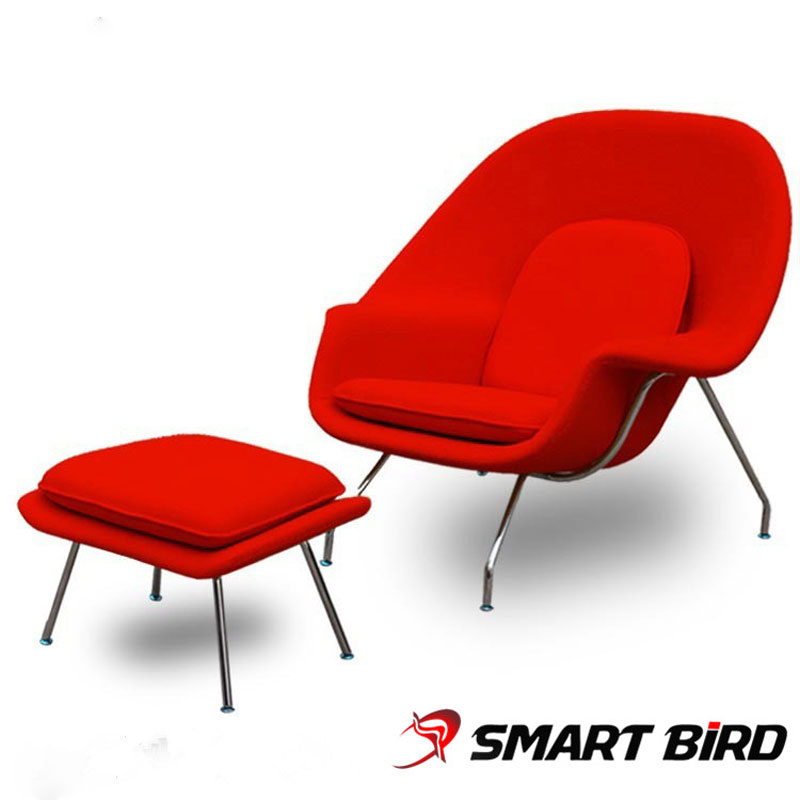 Designer Chair Smart Bird Womb Chair And Ottoman Red And Black