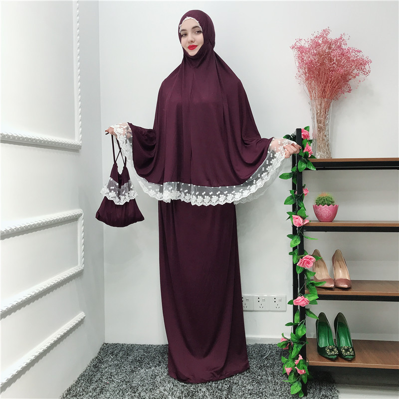 Muslim Two-Piece Set Women Prayer Garment Top And Skirt Ramadan Worship Robe Lace Big Swing Maxi Skirts Kaftan Islamic Clothing