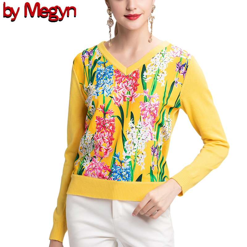2019 свитер женски Fashion  Women Long Sleeve V-neck Fashion Female Sweater 2XL Yellow Flower Print Knitwear Wool High Quanlity