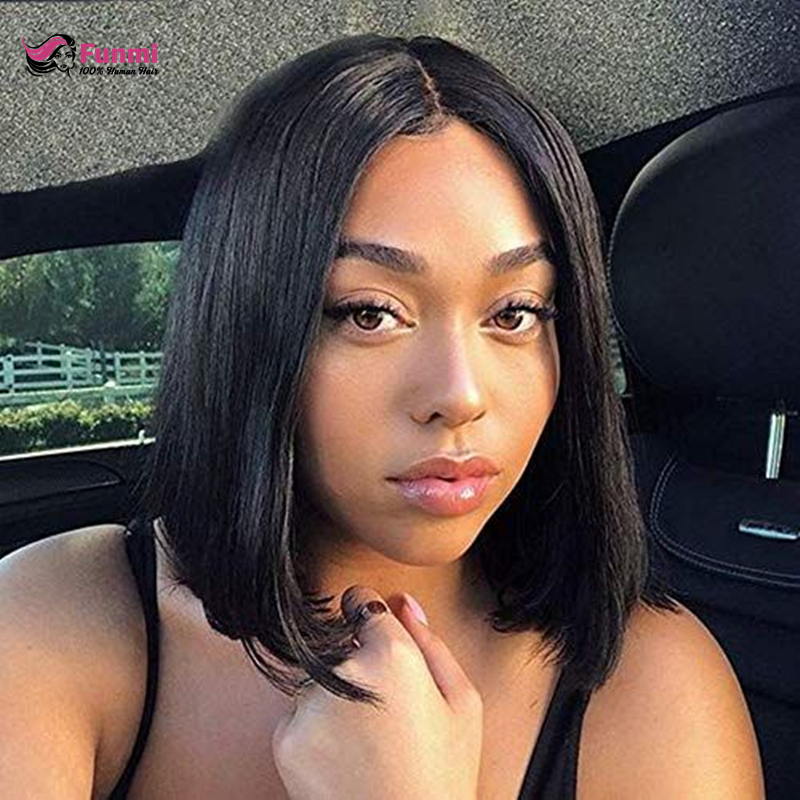 Brazilian Wig Straight Short Bob Lace Front Wigs Lace Front Human Hair Wigs Pre-plucked With Baby Hair Remy Funmi Hair