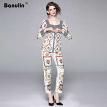 Banulin Women Autumn Suit Runway Fashion Square Collar Stripe Long Sleeve Tops + Vintage Print Pencil Pants Two Pieces Set