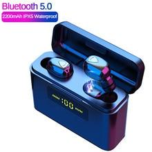 Dg509 tws verdadeiro 5d fones de ouvido estéreo sem fio bluetooth mini tws headfrees à prova dheadágua com 2200mah banco potência