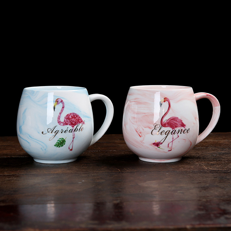 400ml Flamingo Marble Pattern Water Cup Coffee Milk Tea Ceramic Mug Home Office Collection Cup Love Couple Brush Wash Cups
