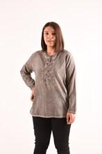 Women's Large Size Button Gray Blouse 4011