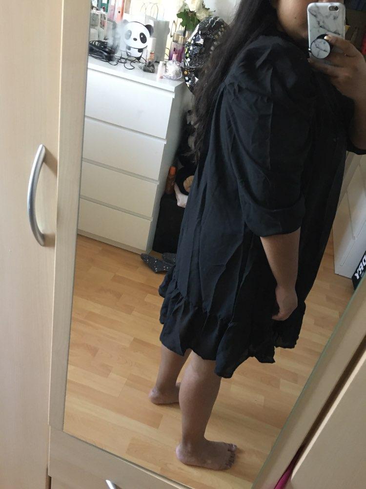 Hot 2019 autumn new fashion women's temperament commuter puff sleeve small high collar natural A word knee Chiffon dress reviews №3 182562