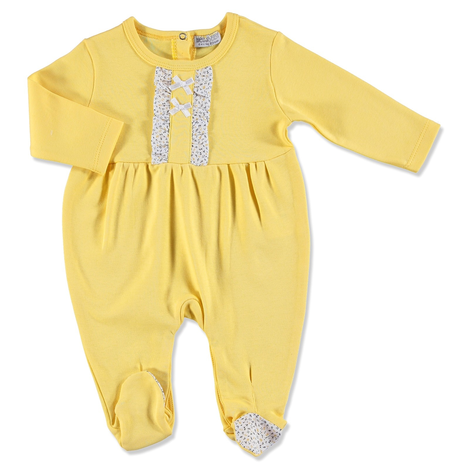Ebebek HelloBaby Yellow Flower Theme Baby Footed Romper