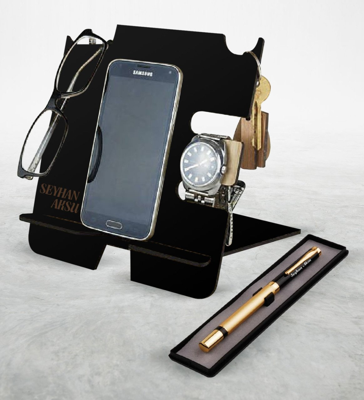 Personalized Wooden Phone Charging Stand Organizer Pen Set Blue Ball Charger Stand Quality Reliable Black Color