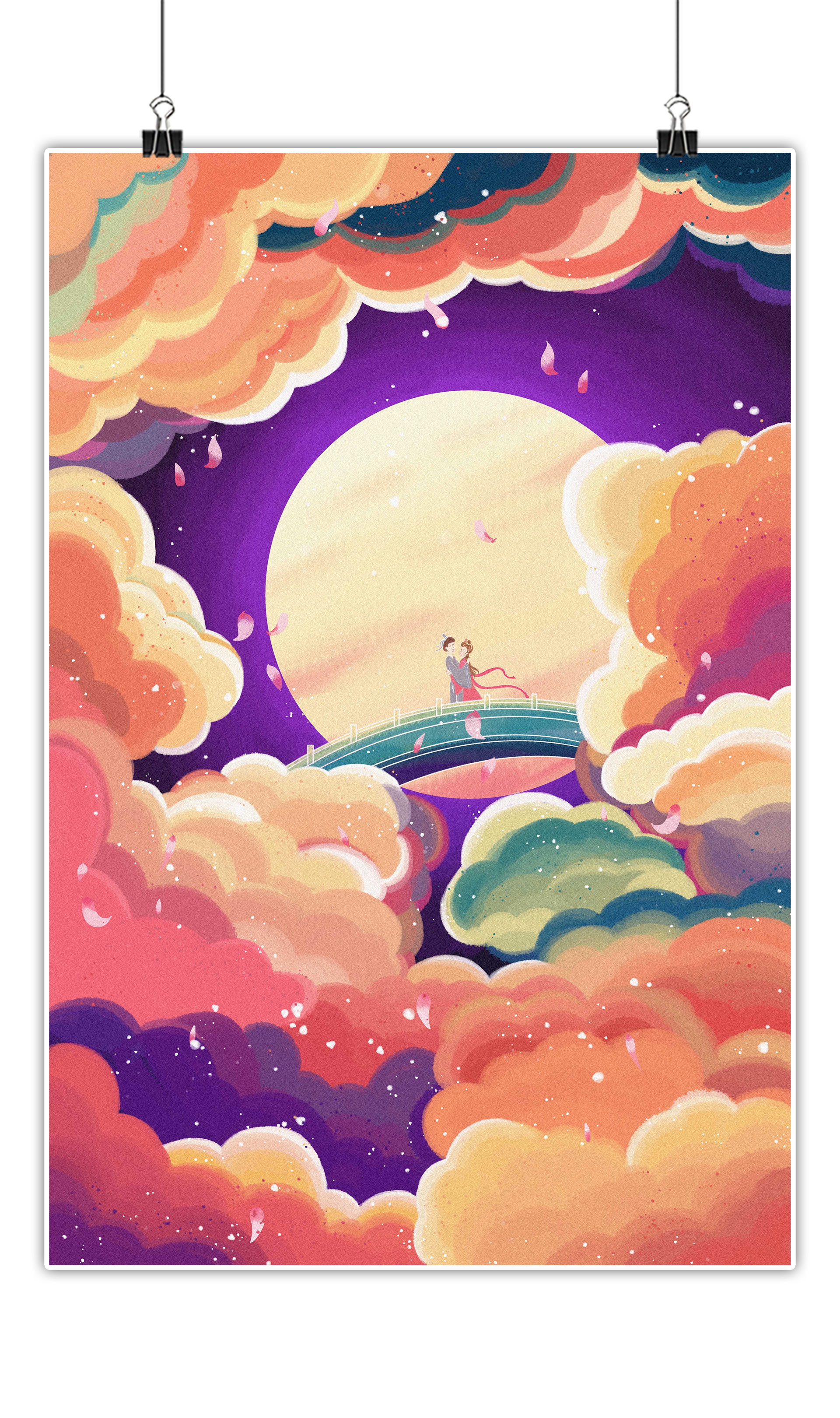 传统节日七夕节鹊桥相会插画