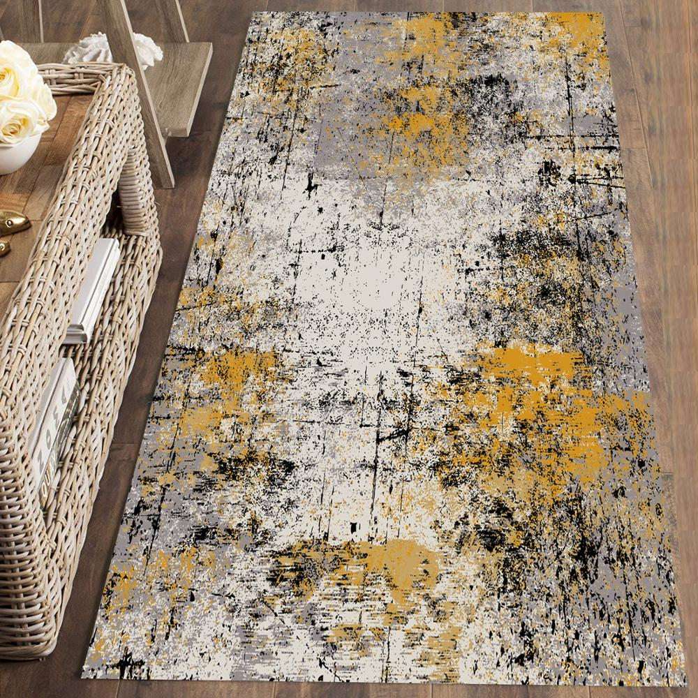 Else Brown Gray Yellow Paint Splashes Colored 3d Print Non Slip Microfiber Washable Runner Mats Floor Mat Rugs Hallway Carpets