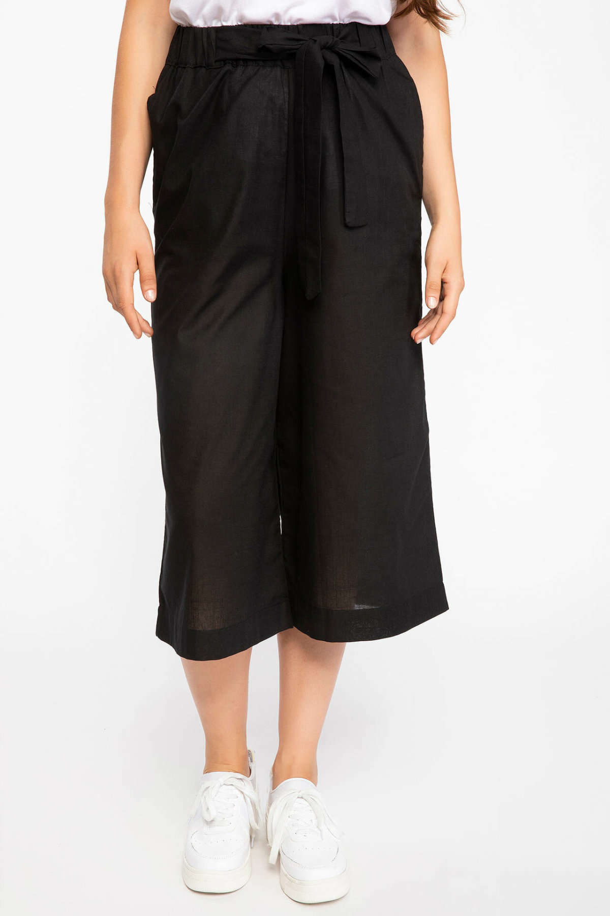 DeFacto Fashion Ladies Striped Loose Trousers For Women's Casual Pants Straight Comfort Crop Pants Female New - K1147AZ18AU
