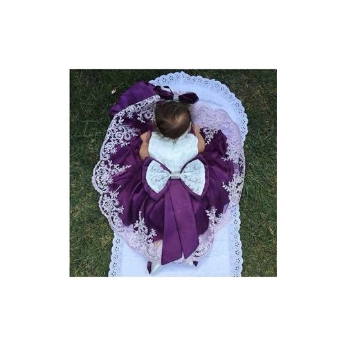 Baby Girl Christening Dress Purple Laced Bowknoted Ceremonial Dress 6-piece Quality Cotton