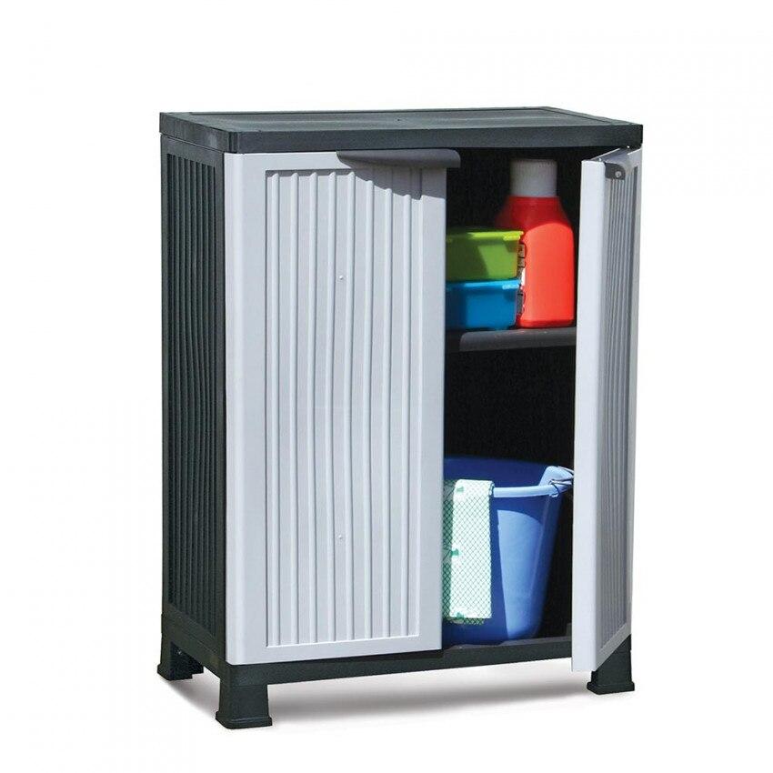 Wardrobe Exterior Resin Low With 1 Shelf Gray 92x68x39cm GH91