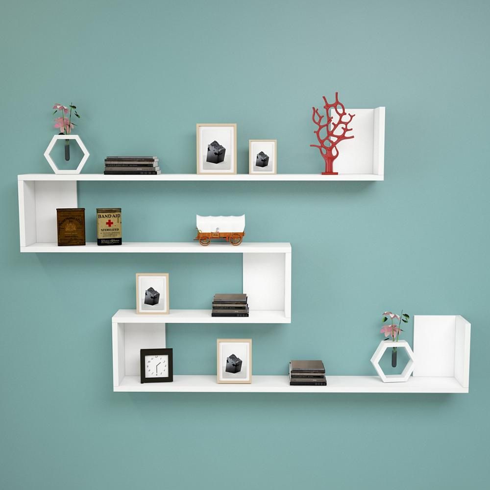 Shelf&Shelf MADE IN TURKEY Modern Bookshelf Decorative Living Room Wood Wall Book Holder Organizer Shelf Rack Bookcase White