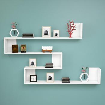 цена Shelf&Shelf MADE IN TURKEY Modern Bookshelf Decorative Living Room Wood Wall Book Holder Organizer Shelf Rack Bookcase White онлайн в 2017 году
