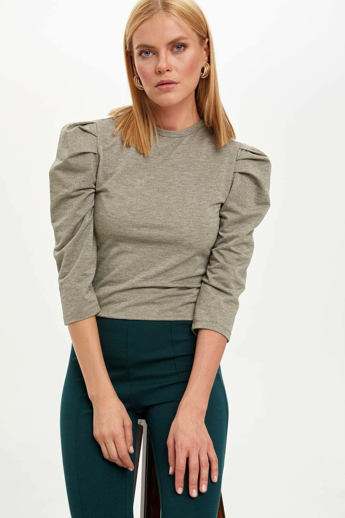 DeFacto Woman Sweat Shirt Women Fashion Puff Sleeve O-neck Cotton Hoodies Casual Stylish Tops-N1151AZ19WN