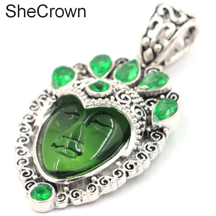 Awesome Big 16 1g Forest Goddess Face Green Emerald Woman 39 s Sliver Pendant 55x28mm in Pendants from Jewelry amp Accessories