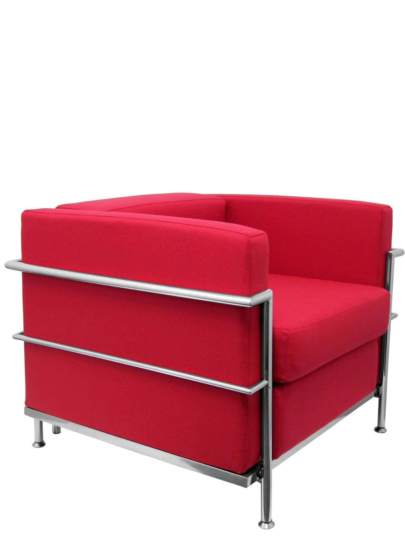 Sofa De Modulo/waiting One Square-Upholstered In BALI Tissue Red Color TAPHOLE AND CURLED Model Nerpio