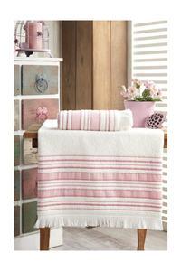 Fiesta Bathroom Towel Set 70x140 - 50x90 2pcs 100 Cotton Powder and Blue Color bath Face Made In Turkey