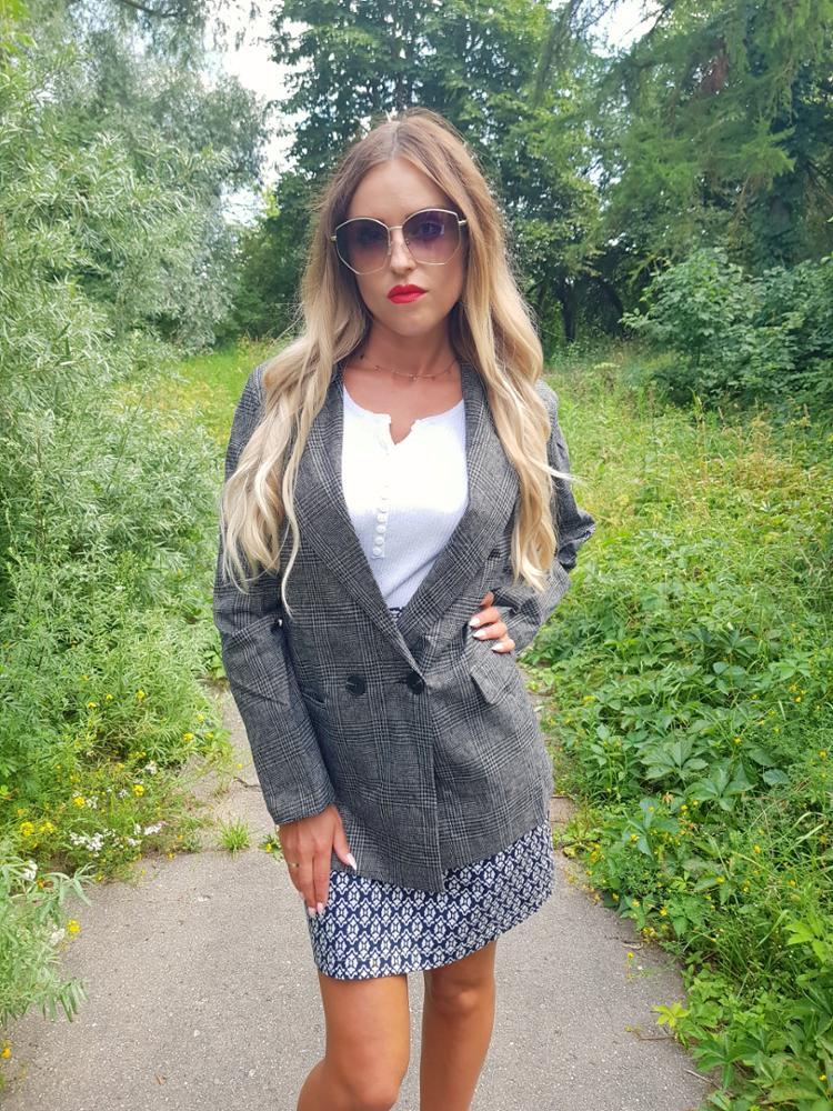CBAFU autumn spring jacket women suit coats plaid outwear casual turn down collar office wear work runway jackets blazer N785 reviews №3 88685