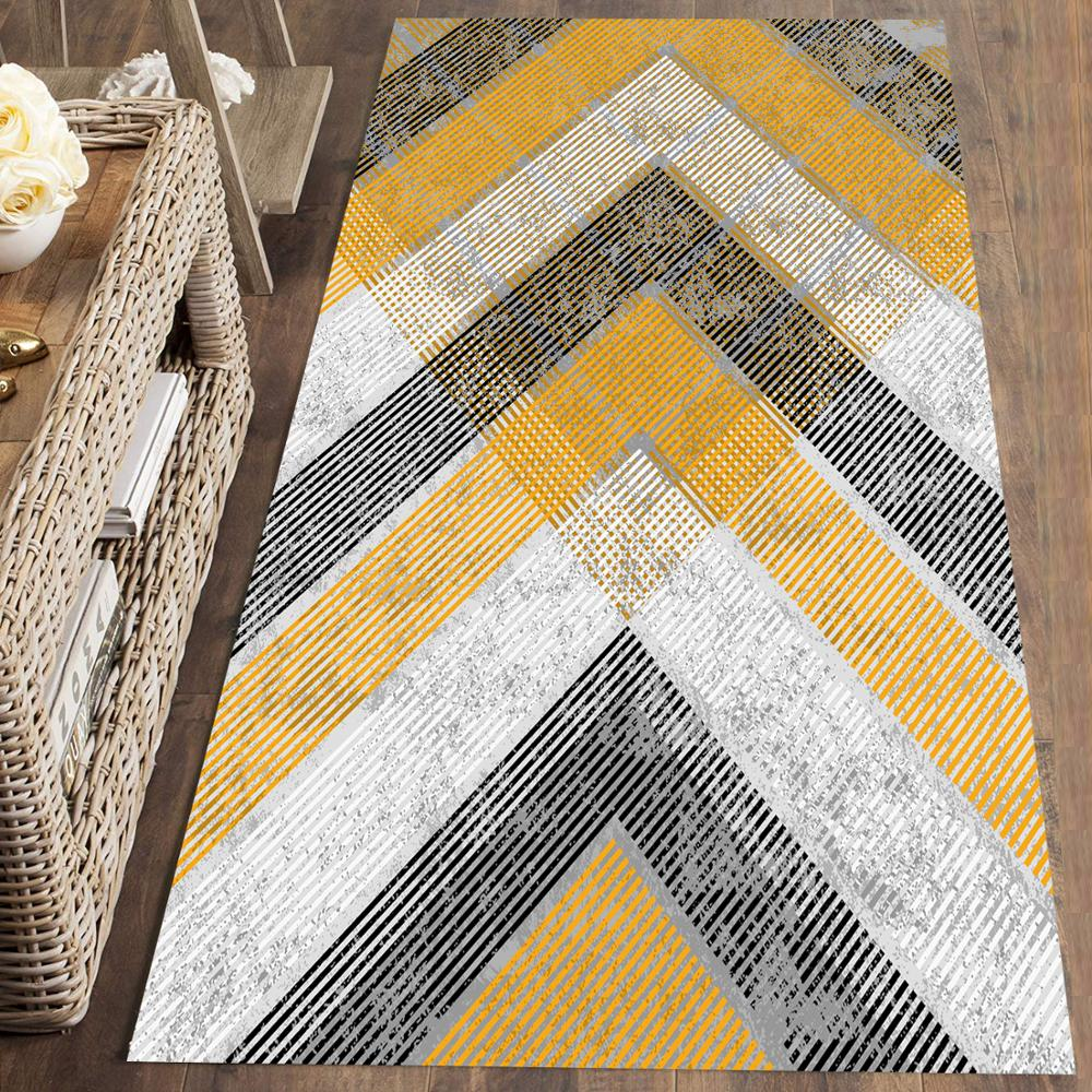Else Gray Yellow Arrows Geometric Nordec 3d Print Non Slip Microfiber Washable Long Runner Mat Floor Mat Rugs Hallway Carpets
