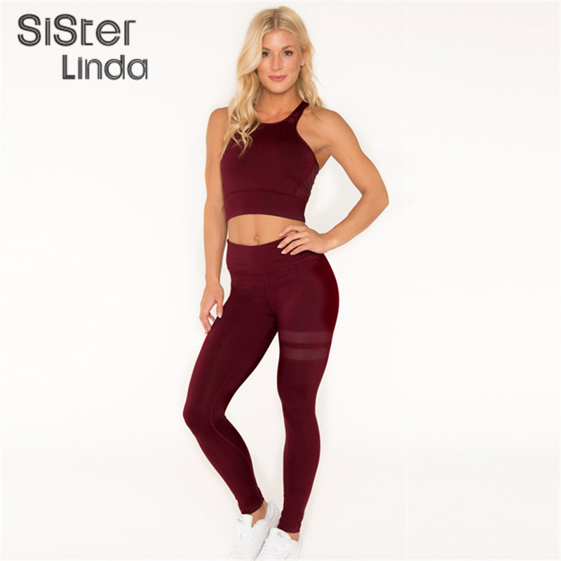 Sisterlinda Fashion Fitness Tracksuit Set Women Sexy Set Sporting Bra Sporting Crop Top Workout Pants Mujer Tights Workout Suits