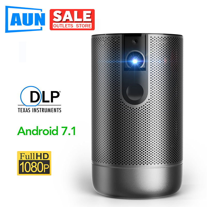 AUN Full HD DLP Projector D9, Android 7.1 (2G+16G) 4000 mAh Battery, 5G WIFI , 3D MINI Projector, Outdoor Travel Portable Beamer image