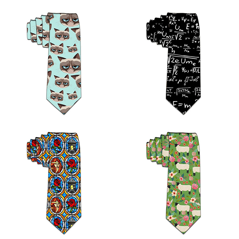 Funny Neckties For men Cartoon Novelty Fashion Ties Flower Printed Neck ties Wedding Gift Party Accessories 5LD50