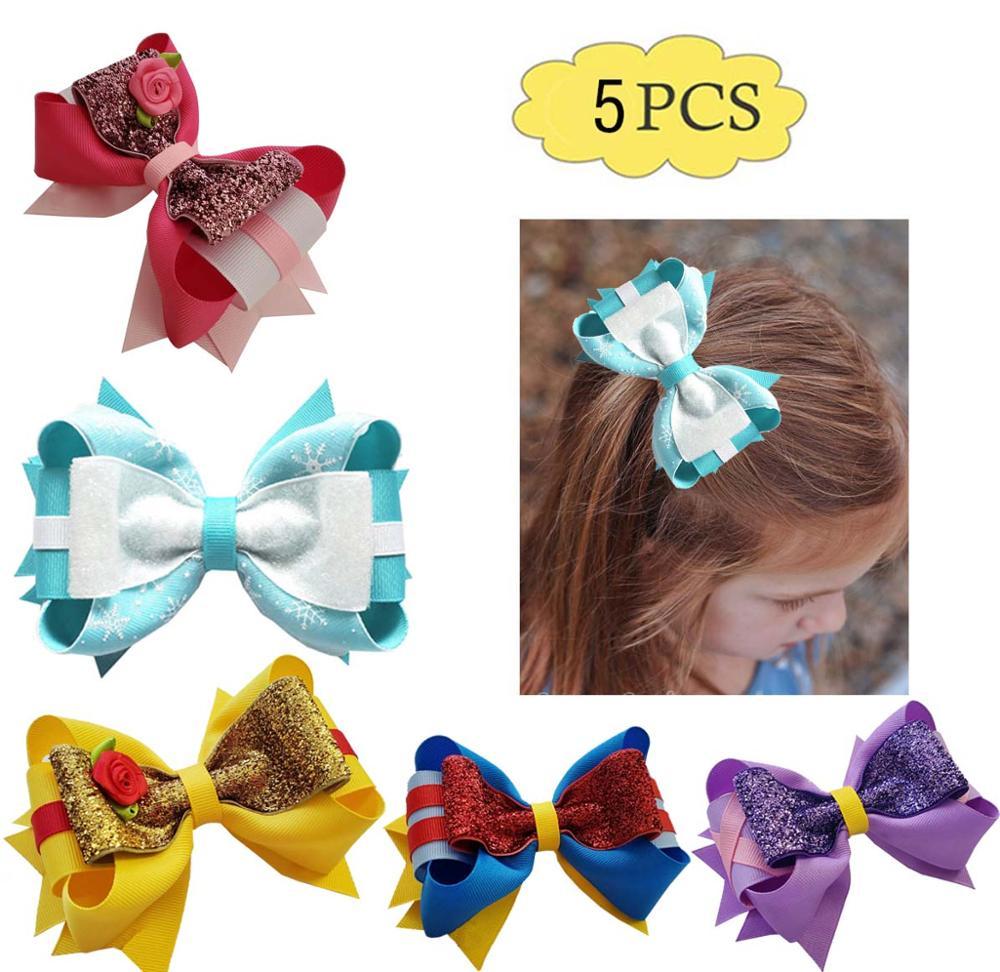 "5/"" Girl Double Layer Grosgrain Ribbon Hair Bow Clip Hairpins Multicolor Optional"