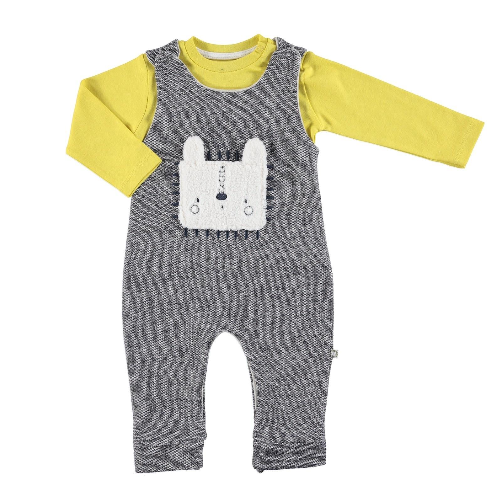 Ebebek Mymio Lion Baby Dungarees Sweatshirt Set 2 Pcs