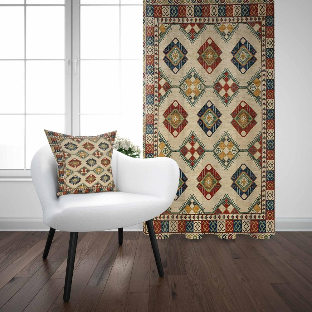 Else Ottoman Turkish Vintage Geometric Ethnic Design 3D Print Living Room Bedroom Window Panel Curtain Combine Gift Pillow Case