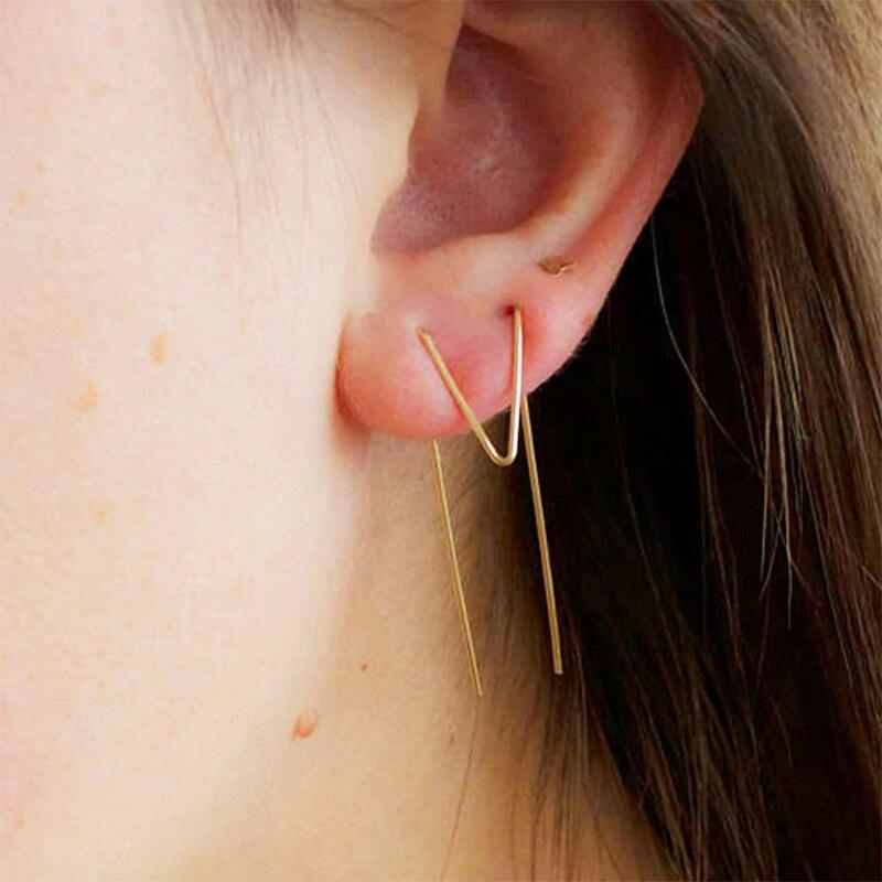 Two Hole Earrings Jewelry for Women Handmade Brincos Asymmetrical Length Creative Double Piercing Oorbellen Pendientes Earrings