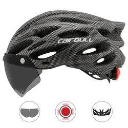 이동식 바이저 고글이있는 cairbull 초경량 사이클링 헬멧 자전거 미등 intergrally-molded mountain road mtb 헬멧 230g