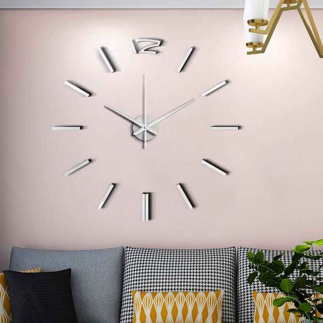 50cm 3D Wall Clock Modern Design DIY Acrylic Mirror Stickers Clock for Living Room Bedroom Home Decor Large Silent Elreloj Mural 6