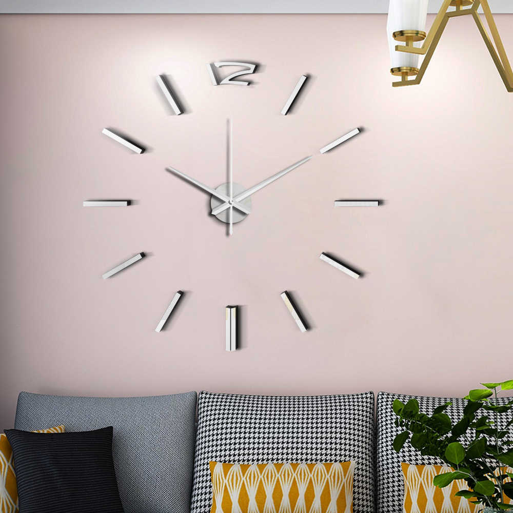 50 سنتيمتر ثلاثية الأبعاد ساعة حائط التصميم الحديث DIY بها بنفسك الاكريليك ملصقات للمرايا ساعة لغرفة المعيشة غرفة نوم ديكور المنزل كبير صامت Elreloj جدارية