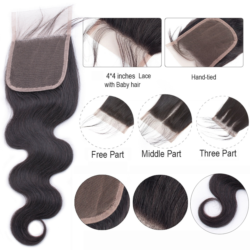 U330e98a6aa0f43ca9e83546abef60134I BEAUDIVA Brazilian Hair Body Wave 3 Bundles With Closure Human Hair Bundles With Closure Lace Closure Remy Human Hair Extension